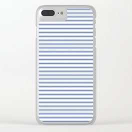 Mattress Ticking Narrow Horizontal Stripe in Dark Blue and White Clear iPhone Case