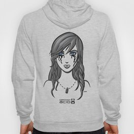 Beautiful Girl in Tears Wearing a Necklace with a Bullet Charm Hoody