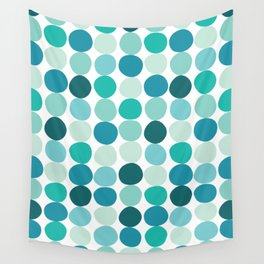 Midcentury Modern Dots Blue Wall Tapestry