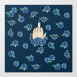 Middle Finger Up Blue Flowers Canvas Print