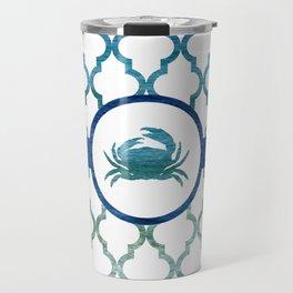 Crab: Tropical Water Moroccan Pattern Travel Mug