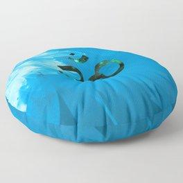 Om Shanti (blue-green) Floor Pillow