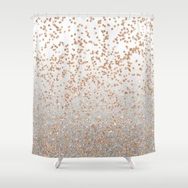 Glitter sparkle mix - rose gold & silver Shower Curtain