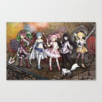 madoka magica Canvas Prints featuring Madoka by drawn4fans