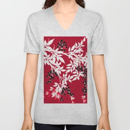 TREE BRANCHES  RED AND WHITE WITH BLACK BERRIES Unisex V-Neck