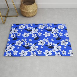 Blue Sakura Cherry Tree Flower Blooms - Aloha Hawaiian Floral Pattern Rug