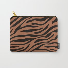 Brown and Black Zebra Animal Print Carry-All Pouch