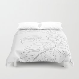 Line Art Monstera Leaves Duvet Cover