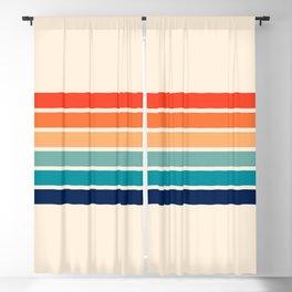 Tadama - Colorful Classic 70's Vintage Style Retro Summer Stripes Blackout Curtain