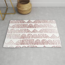 Elegant abstract faux rose gold geometric tribal  Rug