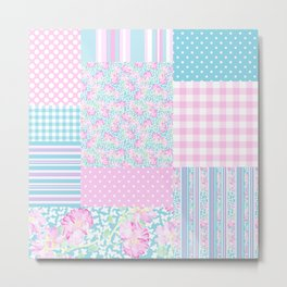 Roses and Butterflies Faux Patchwork Metal Print