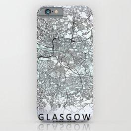 Glasgow, Scotland, White, City, Map iPhone Case