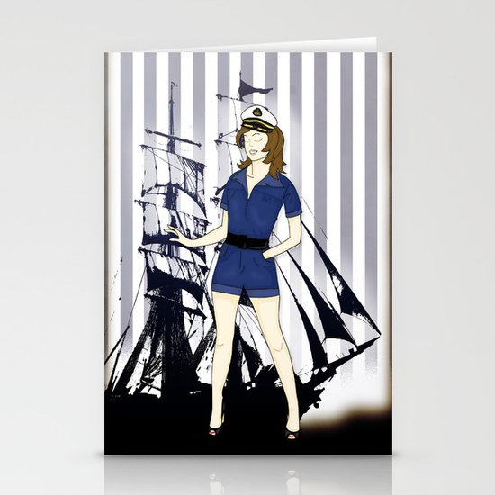 Navy Girl Stationery Cards