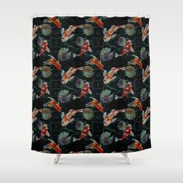 Meditative Koi Fish Pattern Black Shower Curtain