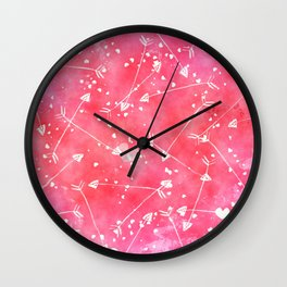 Hearts Stars Arrows Pink Watercolor Background Wall Clock