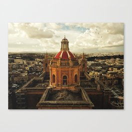 A drone shot of a Roman Catholic Church in Malta Canvas Print
