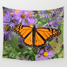 Monarch Butterfly on Wild Asters (square) Wall Tapestry