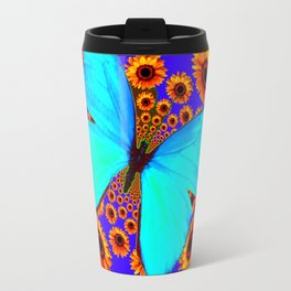 Turquoise Butterflies Golden Sunflowers Blue Abstract Travel Mug