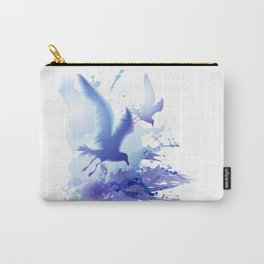 Watercolor sea ocean waves seascape with realistic birds, gulls, abstract water. Realism. Art. Carry-All Pouch