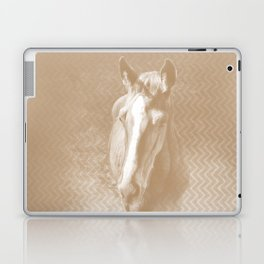 Horse emerging from the mist in iced coffee beige Laptop & iPad Skin