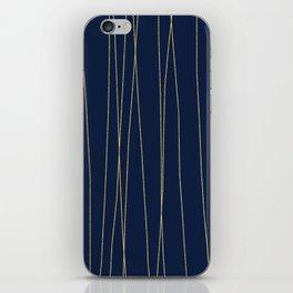 Navy Gold Stripes iPhone Skin