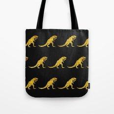 Golden T.Rex Pattern Tote Bag