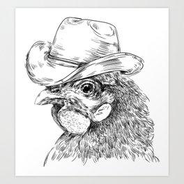 Cowboy cock Art Print