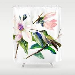 Hummingbird and Magnolia Flowers, Green Soft Pink floral design vintage style Shower Curtain