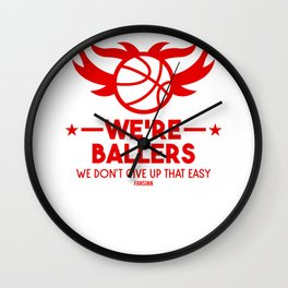 Basketball player throwing clothes Wall Clock