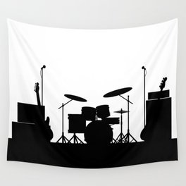 Rock Band Equipment Silhouette Wall Tapestry