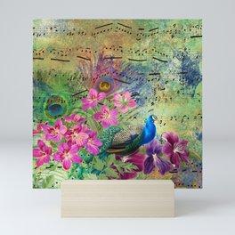 Elegant Peacock Image and Musical Notes Mini Art Print