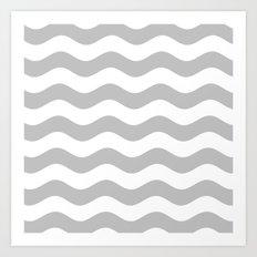 Wavy Stripes (Silver/White) Art Print