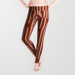 Leitungen Minimalist Mid-Century Modern Pattern in Salmon and Maroon Rust Leggings
