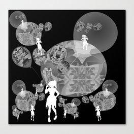 Black and White Surreal Balloon Girl Canvas Print