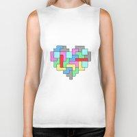 tetris Biker Tanks featuring Tetris Heart by #dancingpenguin
