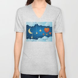 Surreal night with crescent and ballons Unisex V-Neck