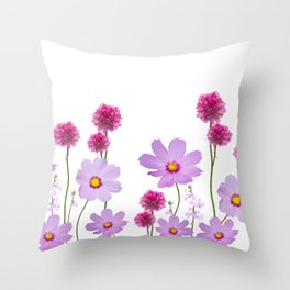 seamless floral pattern on white background Throw Pillow