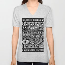 Ethnic African Pattern- Black and White #3 Unisex V-Neck