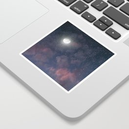 Glowing Moon on the night sky through pink clouds Sticker