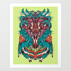 Neon Screaming Eagle Art Print