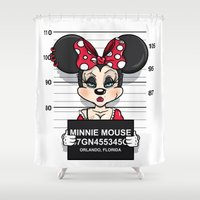 minnie Shower Curtains featuring Bad Guys / Minnie Mouse by mebz art