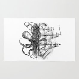 Octopus Attacks Ship on White Background Rug