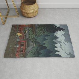 Hasui Kawase, Rain In Nikko, Futatsudo - Vintage Japanese Woodblock Print Art Rug