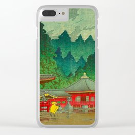 Vintage Japanese Woodblock Print Rainy Day At The Shinto Shrine Tall Pine trees Yellow Rain Coat Clear iPhone Case