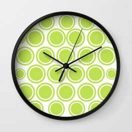 Green Circles on White Wall Clock