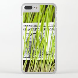 green grass and dollar Clear iPhone Case
