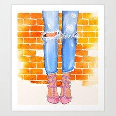 Boyfriend Jeans & Valentino. Art Print