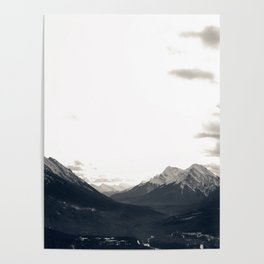 Grey Skies and Sunrise over Snow-Capped Mountains 03 Poster