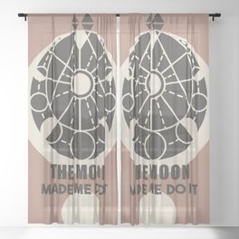 Moon Power - Mid Century Modern Lettering Quote Sheer Curtain
