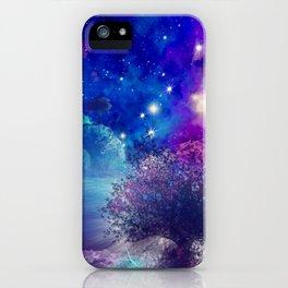 purple blue galaxy landscape iPhone Case